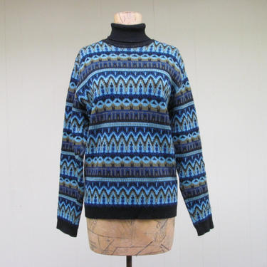 Vintage 1960s Nordic Wool Ski Sweater, 60s Blue Fair Isle Knit Turtleneck, Medium by RanchQueenVintage