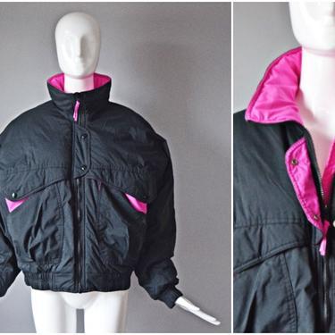 vtg 90s Raewicks black + hot pink colorblock winter ski coat jacket | Size Large pockets high neck nylon zip up casual 1990s streetwear by PinkhamRoadRetro