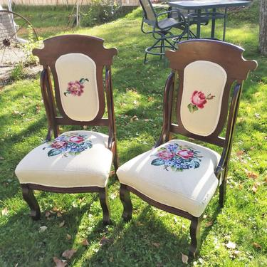 Victorian Upholstered Chairs, Needlepoint Chairs, Hand Embroidered, Shabby Chic, Home Decor by 3GirlsAntiques