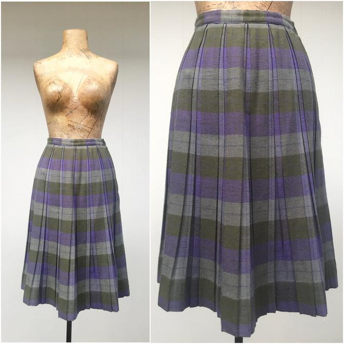 """Vintage 1960s Pleated Plaid Skirt, Preppy Style Olive, Gray and Purple Plaid Acrylic Traditional Schoolgirl, X-Small 25"""" Waist by RanchQueenVintage"""