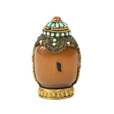 19th C. Chinese Agate Snuff Bottle with Turquoise by BluffStProps