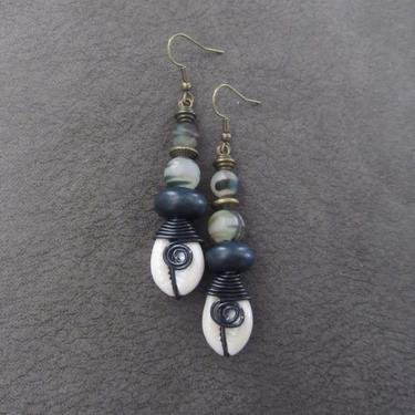 Cowrie shell earrings, unique earrings, black Afrocentric African tribal dangle earrings, camouflage  earrings, spiral wire wrapped earrings by Afrocasian
