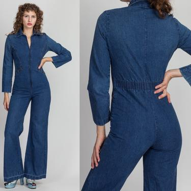 70s Zip Up Denim Flared Leg Jumpsuit - XS to Petite Small   Vintage Blue Jean Bell Bottom Zip Up Retro Outfit by FlyingAppleVintage