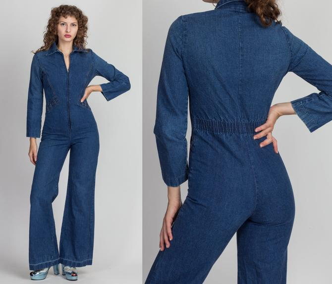 70s Zip Up Denim Flared Leg Jumpsuit - XS to Petite Small | Vintage Blue Jean Bell Bottom Zip Up Retro Outfit by FlyingAppleVintage
