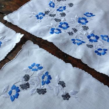 Madeira Linen Table Runner, Set, Placemat, Napkins, Blue Floral Embroidery, Decorative Table Linens by JansVintageStuff