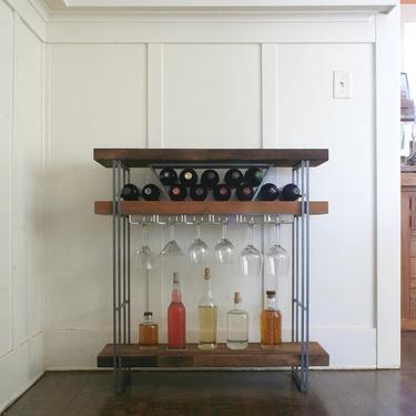 CUSTOM RESERVE for Zak - open bar - modern industrial bar from reclaimed wood and steel by birdloft