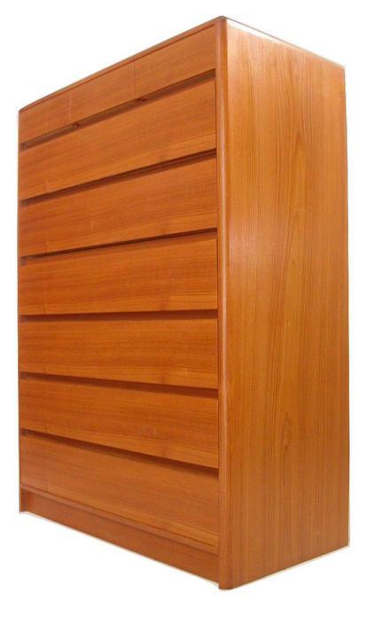 Teak Danish Modern Tallboy Tall bedroom Dresser Credenza From Nordisk Near MINT