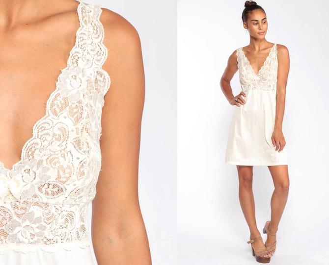4716c870e6a8 Sheer Lingerie Nightgown LACE Babydoll Slip Dress 80s Off-White Nylon Mini  Deep V Neck
