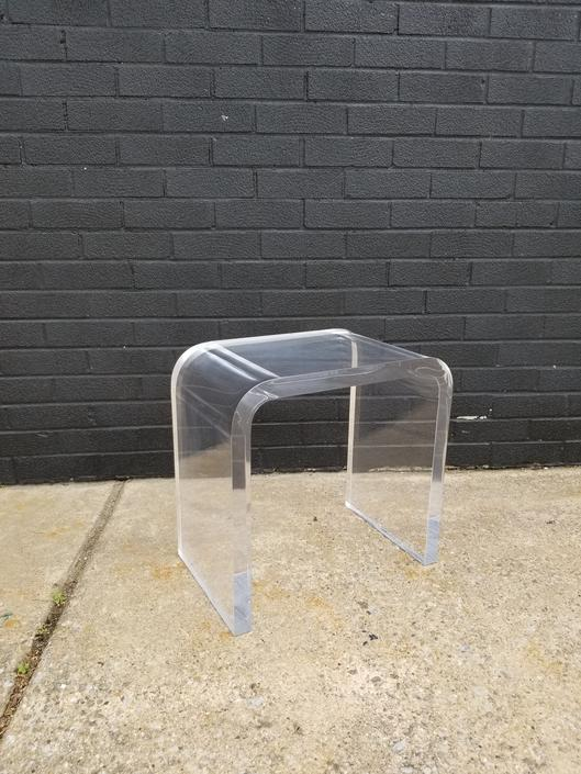 1980s Heavy Lucite Waterfall Side Table