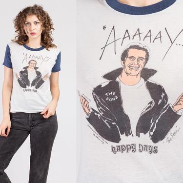 "70s Happy Days ""The Fonz"" T Shirt - Extra Small | Vintage TV Sitcom 1976 Retro Graphic Tee by FlyingAppleVintage"