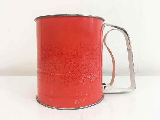Vintage Metal Androck Flour Sifter Farmhouse Kitchen Made in U.S.A. Daisy Retro Orange Red Black Yellow Housewarming 1960s Kitsch Baking by CheckEngineVintage
