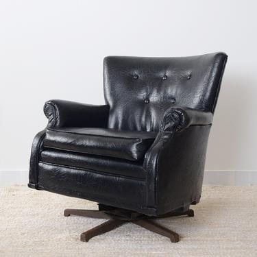 vintage black vegan leather armchair/rocker by fingerlickingvintage