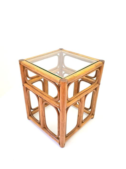 Petite Square Side Table Franco Albini Style Bentwood Bamboo 1960s Mid Century Modern Decor Original Glass Top Nightstand End Table Office by MakingMidCenturyMod