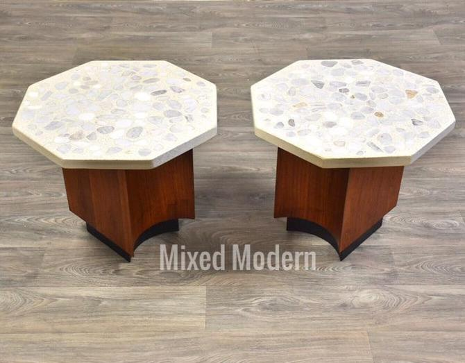Harvey Probber Terrazzo Walnut End Tables- a Pair by mixedmodern1