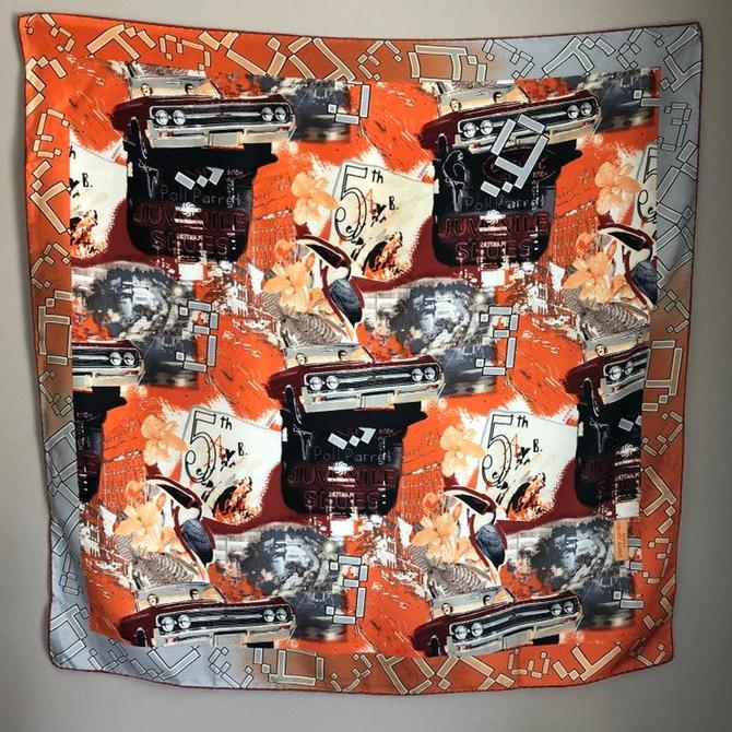 Oversized Silk Scarf from Pierre Cardin Paris - orange, red and grey with busy graphic pattern by theHeirloomYard