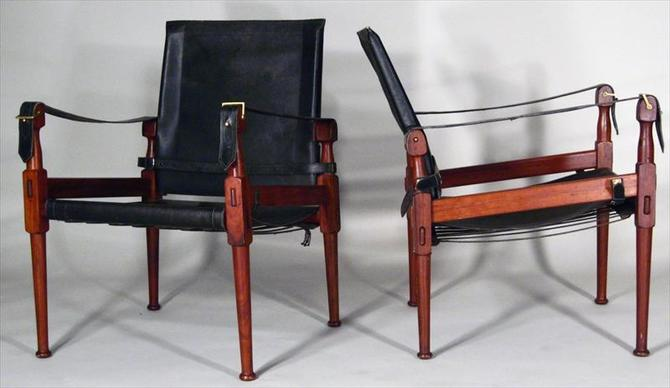 Pair Kaare Flint Black Leather and Rosewood Safari Chairs Midcentury Modern