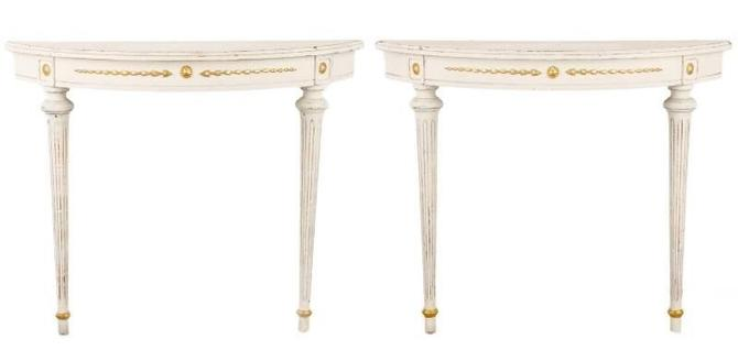 French Neoclassical Demilune Console Tables (pair)