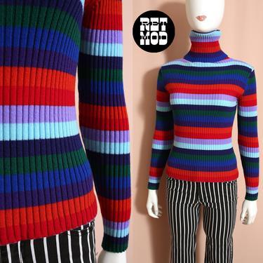 WOW Vintage 70s Blue Orange Red Green Stripe Knit Turtleneck Top by RETMOD