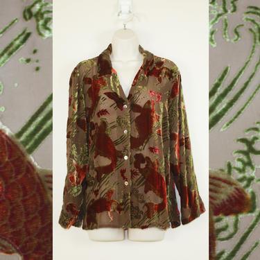 Vintage 90s Burnout Velvet Fish Shirt by GuavaNectarVintage