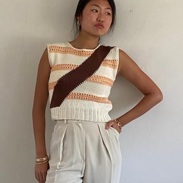 70s handknit cotton sweater tank / vintage white hand knit cotton sleeveless striped sweater tank vest   XS S by RecapVintageStudio