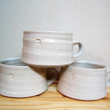 handmade soup mugs, chili bowls, large mugs, modern coffee mugs, pottery mugs, white mugs, white soup mugs, bowls with handle by altheaspottery