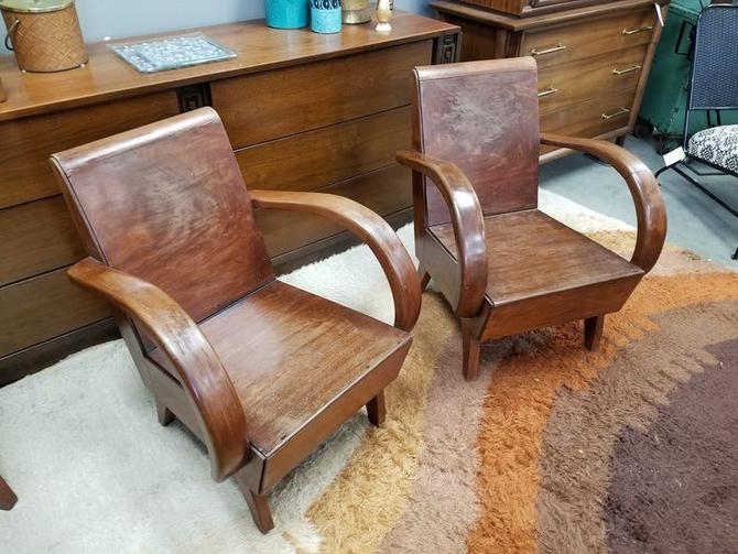 Pair of Art Deco style chairs made from exotic wood