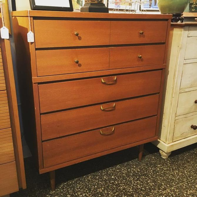 Mid century five drawer dresser with brass hardware, 42 inches high, 34 inches wide, 18 inches deep. $395.