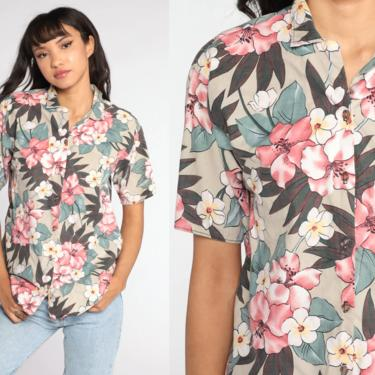 Tropical Floral Shirt White Pink Hawaiian Blouse Button Up 80s Vintage Surfer Vacation Short Sleeve Top 1980s Taupe Medium M by ShopExile
