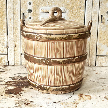 """Americana Cookie Jar/Bucket by Nelson McCoy Pottery """"The Oaken Well"""" - Vintage Farmhouse Kitchen Decor by CollectedATX"""