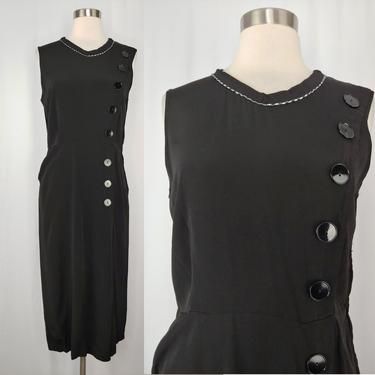 Vintage Forties Black Rayon Sleeveless Sheath Dress with Button Trim - Small 40s Rayon Dress *As Is* by JanetandJaneVintage