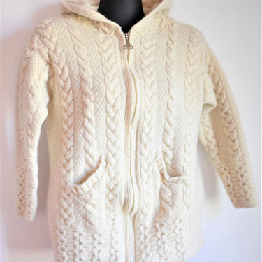 Vintage Irish Cable Knit Cardigan Sweater Hoodie by Aran Crafts | Merino Wool | Ivory Buttercream Color | Zips Up w/ Celtic zipper pull by LostandFoundHandwrks