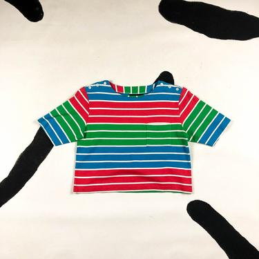 90s Liz Claiborne Multi Stripe Crop Top / Button Shoulder / Medium / Cotton / Bright / Colorblock / 80s / 90210 / Saved by The Bell / Tee / by badatpettingcats