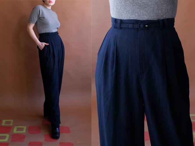 Vintage 80s Pinstripe Belted Trousers/ 1980s High Waisted Wide Leg Pants with Matching Belt/ Size 28 29 by bottleofbread