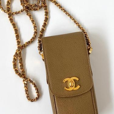Vintage 90's CHANEL CC Turnlock Logo Beige Caviar Leather Gold Chain Flap Crossbody Purse Bag Handbag Evening Clutch Phone Case Pouch by MoonStoneVintageLA