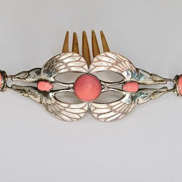 Piel Frères Egyptian Revival Silver Ibis Scarab Comb, Art Nouveau Hair Comb, French Antique Comb, Bird Motif Comb, Bridal Comb, Hair Jewelry by CombAgain