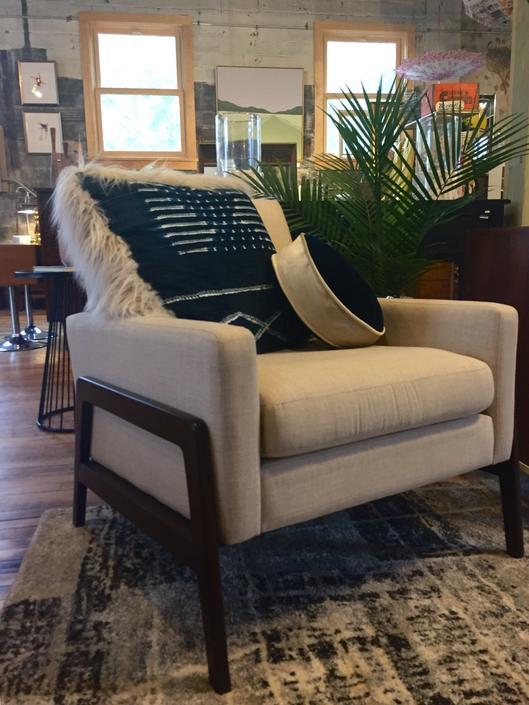 Modern Arm Chair w/ Wood Detail