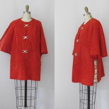 ORANGE GROOVE Vintage 60s Suede Jacket Cape w/ Gold Toggles   1960s Bonnie Cashin Style Knock Off   70s 1970s Mod Mid Century   Medium Large by lovestreetsf