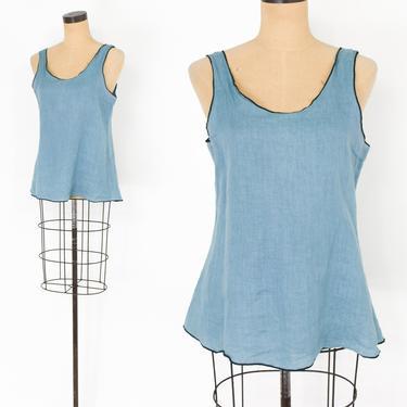 1990s Blue Linen Sleeveless Blouse   90s Turquoise Blue Linen Top   Cynthia Ashby   Medium by GlennasVintageShop