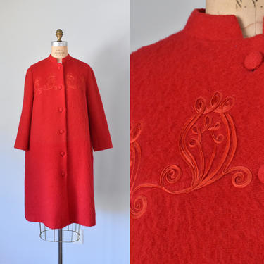 Drescher red sweater coat, mohair sweater, wool coat, mohair coat, boho jacket, by ErstwhileStyle