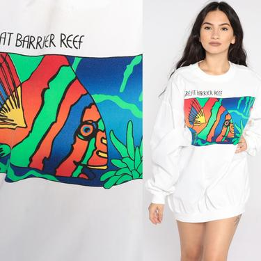 Great Barrier Reef Sweatshirt Tropical Fish Shirt Australia 90s Slouchy White Long sleeve Shirt Vintage Tee 1990s Graphic Print Large L by ShopExile