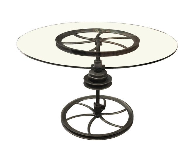 A Large Heavy-duty Antique Industrial Cast Iron Table with Glass Top
