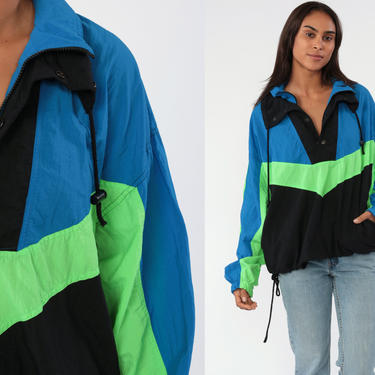 90s Adidas Jacket Vintage Sports Jacket Transformable To Vest Zip Up Blue Track Jacket Color Block Streetwear Retro Adidas Jacket Large