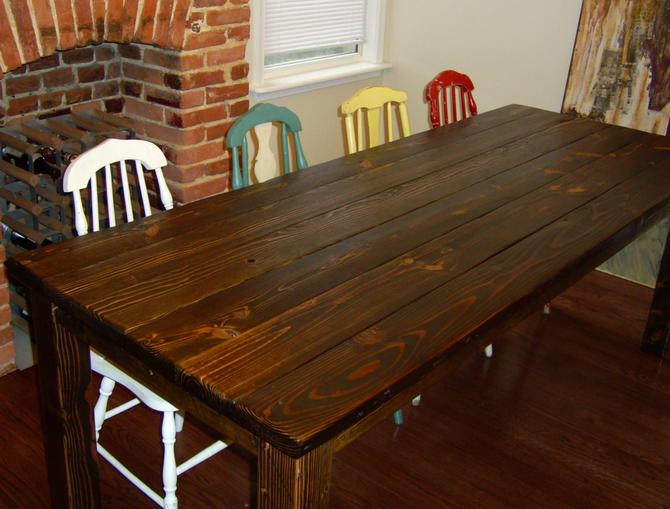 Calvert parsons style dining table farmhouse reclaimed for Solid wood farm table