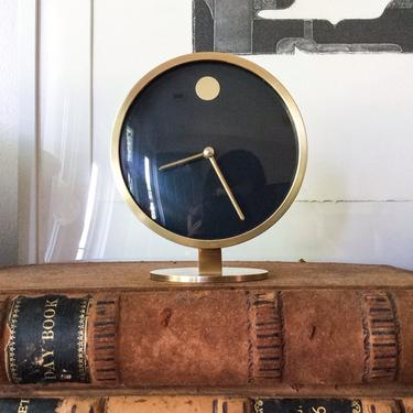 Pristine Howard Miller Solid Brass Museum Desk Clock Vintage Mid Century Modern George Nelson Germany Designer Object by CaribeCasualShop