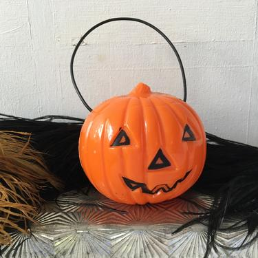 Vintage Hard Plastic JOL By Union Products, Plastic Bail With Original Light Bulb, Halloween Pumpkin, Small Blow Mold by luckduck