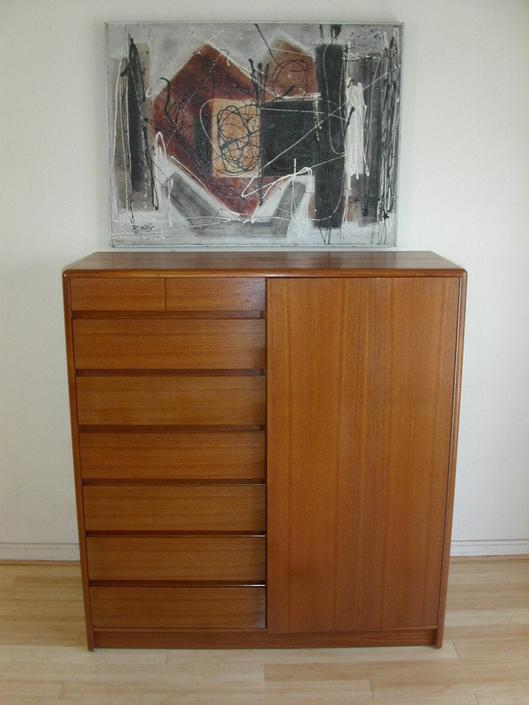 Danish Modern Teak Gentleman's Chest Tall Boy Dresser By Nordisk, Denmark Storage Bedroom Mid-Century Call / Text Offers 571 330 0810 by RetroSquad