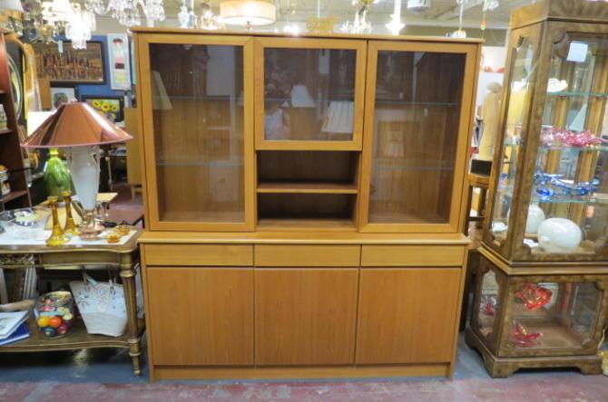 Vintage Danish modern teak 2 piece Storage cabinet
