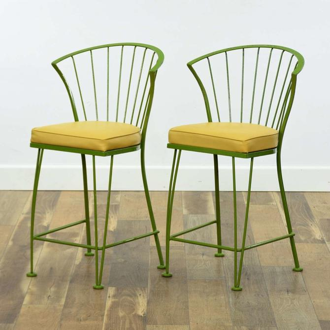 Pair Of Vintage Lime Scalloped Fan Back Bar Stool