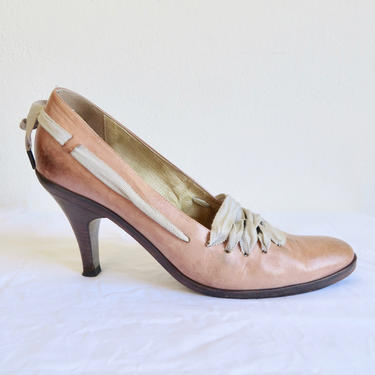 Vintage Size 40 9.5US Dries Van Noten Camel Distressed Leather High Heel Pumps Grosgrain Ribbon Laces Wooden Heels Avant Garde Made in Italy by seekcollect