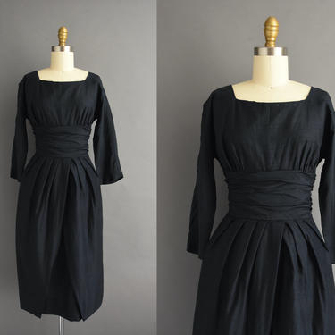 vintage 1950s | Navy Blue Silk Cocktail Party Pencil Skirt Bridesmaid Dress | Small | 50s dress by simplicityisbliss
